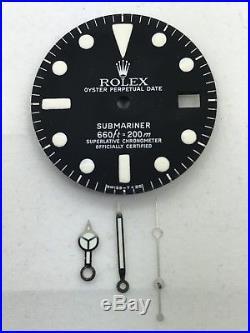 100% Genuine Rolex Submariner 1680 Matte Black Dial with set of Hands