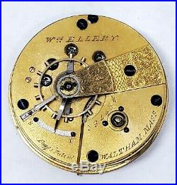 1869 Waltham 18s Wm Ellery Pocket Watch Movement Dial, Hands, Parts Repair 23304