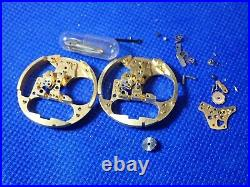 2 Vintage BULOVA ACCUTRON 214 gold plated Tuning Fork Watch parts Movement hands