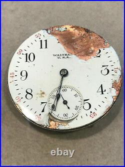 2 Waltham Pocket Watch Movements 17J, With Dial and Hands For Parts or Repair
