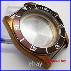 41mm Bronze Plated Watch Case + sterile dial + hands for ETA 2836 movement parts