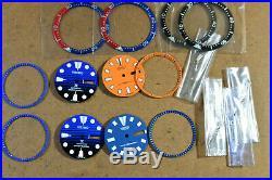 4pc Kit SEIKO DIVER Automatic 6309 Parts Watch AsIs + New Dials/ hands/ bezel