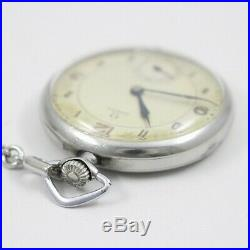 AS-IS For Parts OMEGA Antique Pocket Watch Hand-wound Small Second Silver Dial