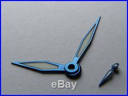 Aiguilles ACIER BLEUI swiss BGW9 FLAME BLUED STEEL hands Unitas ETA 6497 6498