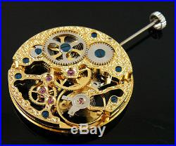 Analog Full Skeleton gold plated Hand Winding 6497 movement fit vintage case 004