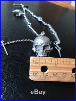 Antique Victorian Skull Watch Fob, No Watch, Chain with Bones and Hand