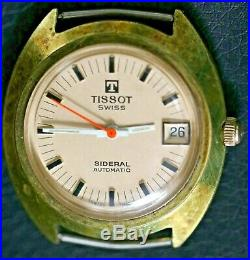As-Is For Parts Tissot Swiss Sideral Automatic Wrist Watch with Orange Second Hand