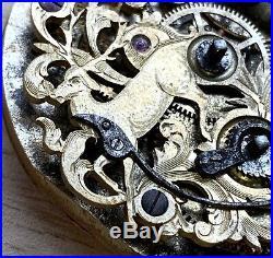 Carved Pocket Watch Hand Manual 42,5 MM Doesn'T Works For Parts Pocket Vintage