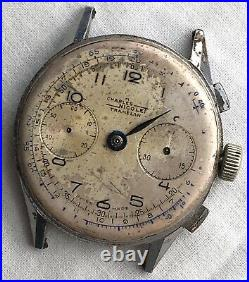 Charles Nicolet Tramelan Cronografo No Funziona For Parts Hand Manuale 37mm