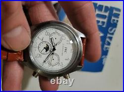Chronograph stainless STEEL watch leather & steel band read broken hands parts