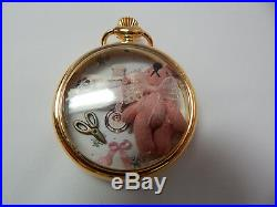Collectible Artist Hand Made Miniature Bear & Parts in Gold Watch Case #1062 C