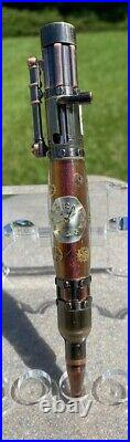 Custom Hand Made Steampunk Bolt Action Watch Parts Bronze Color Background