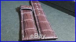 Dior hand stitched (cousu main), dark brown alligator watch band/strap, 19/17mm