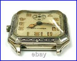 Engraved Square Art Deco Hamilton Wrist Watch Orig. Lume Dial & Hands FOR PARTS
