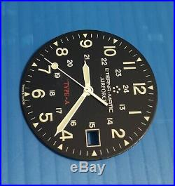Eterna matic airforce type A parts dial+hands automatic eta 2824-2, black