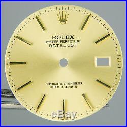Gen Rolex 2Tone DateJust Champagne Dial Hands Quickset 3035 3135 16013 16233