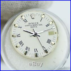 Gen Rolex SS White Roman Dial Hands Ladies 26mm Date 6919 Watch Face 6917 6916