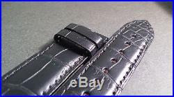 Genuine Montblanc Villeret 1858 Black alligator 20/18mm curved ends hand stitche