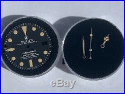 Genuine Rolex Submariner 1680 Matte Black Dial with Old Hands Set, marked # back