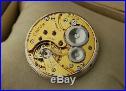 Great stage OMEGA cal 37,5 L. 17P pocket watch movement with dial and hands