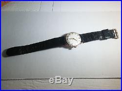 Gruen wrist watch, Precision, hand wind 14k gold, original ostrich band-black, r