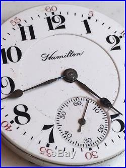 HAMILTON 940 Movement Dial & Hands Pocket Watch for Parts Repair 18S 21J Ca 1910