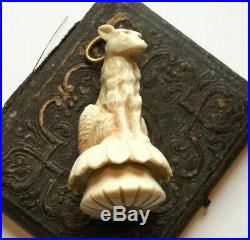 Hand carved celluloid pendant fob, Wolf dog, chess piece pendant antique jewelry