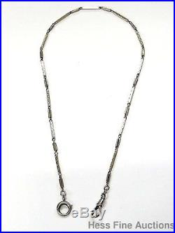 Huge Handmade Hand Etched 14k White Gold 1920s Art Deco Long Pocket Watch Chain