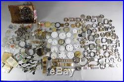 Huge Lot Watch & Pocket Watch Parts (1000+ Hands), Porcelain Dials, Cases Etc
