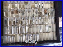 Lot Vintage ELGIN & More Pocket Watch Parts in 4 Drawer Cabinet STEMS, HANDS