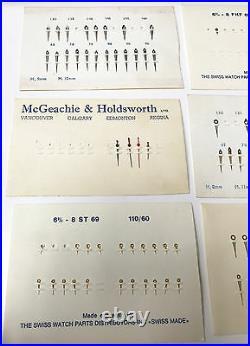 Lot of 9 Watch Hand Parts Hr 9mm Min 12mm 6 3/4-8 Swiss Watch Parts McGeachie