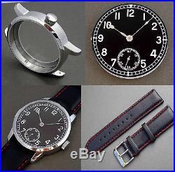 Marine Watch Kit Eta 6498-1 St. Steel Case + Black Dial + Hands Set + Swiss New