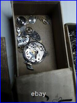 Military Watch parts lots from watchmakers estate Hands & Stem, balance plus