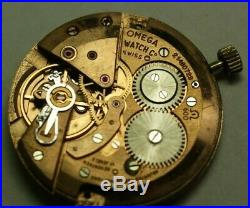 OMEGA Cal. 600 Movement RUNNING 17J with Dial Hands Crown Stem Vtg Watch Parts