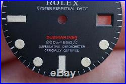 Original 1969 70 Rolex 1680 RED Submariner Meters First Dial Matching Hand Set