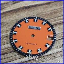 Rare Stylish 1970s Benrus Automatic Divers Watch Orange Dial & Hands Parts (Z54)