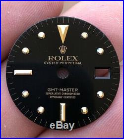Rolex GMT Master 1675 Tropical Nipple dial hands and 18k Gold bezel
