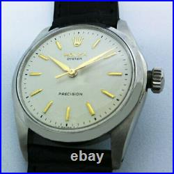 Rolex Oyster White Text Plate Gold Parts Ref 6426 Mens 1960S Hand-Wound Used