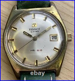 Tissot 41620 Pr 516 2461 Hand Manual 34 mm Doesn'T Works For Parts Watch Swiss