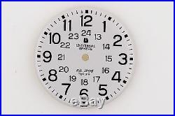 UNIVERSAL GENEVE RR 1205 Vintage White Watch Dial NOS 27.8 mm with Hands (ZB262)