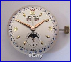 VENUS 203 triple calendar moonphase small sec with dial and hands NOS Swiss Made