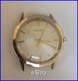 Vintage Rolex 14k Gf Big Case Dial Hands Crown For Parts 1520 1530 1560 1570