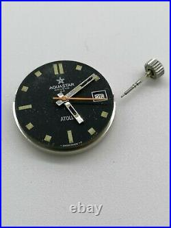 Vintage Aquastar Diver Atoll Dial, Movement And Hands For Parts