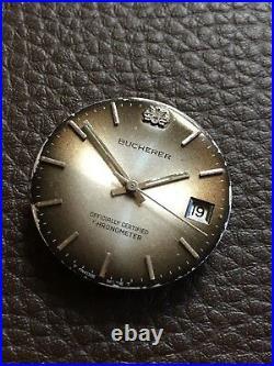 Vintage Bucherer Watch Dial, Hands & Movement Automatic ETA 2728 Swiss FOR PARTS