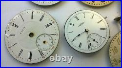 Vintage Elgin pocket watch Movements Dials Hands for parts only