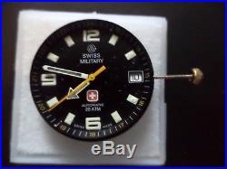 Vintage Eta 25 Jewel 2824-2, 20 Atm Swiss Military Dial, Hands, Stem, Crown