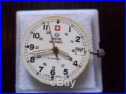 Vintage Eta 25 Jewel 2824-2 Swiss Military Dial With Hands, Stem, Crown