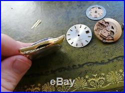 Vintage Gold Omega Seamaster Parts Needs TLC. Hands, dial, case, movement