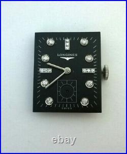 Vintage LONGINES 17j 22L Diamond Wrist Watch Black Dial Movement Hands Parts