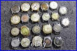 Vintage Lot of 22 Hand Wind Wrist Watches Bradley Timex For Parts or Repair